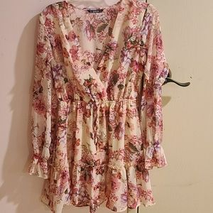 Floral pink ruffle trim dress from Shein